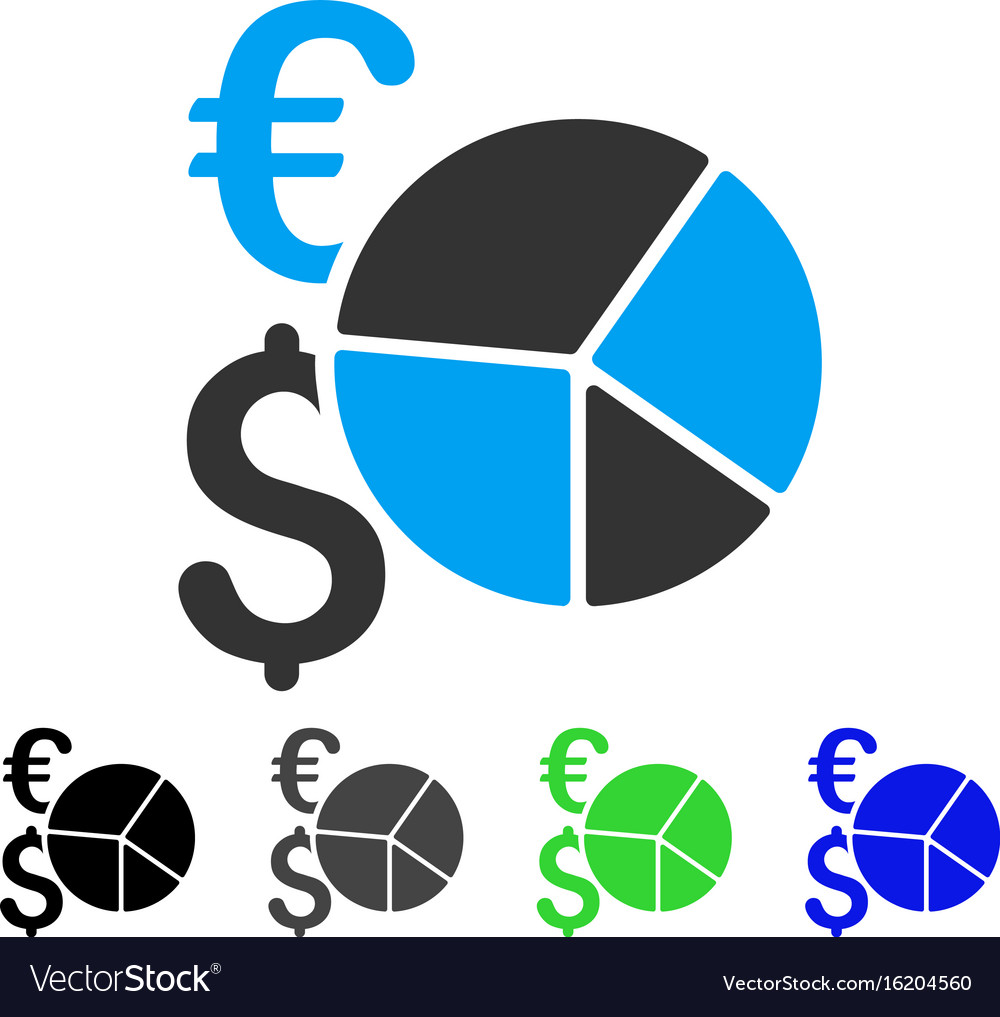 Financial pie chart flat icon vector image