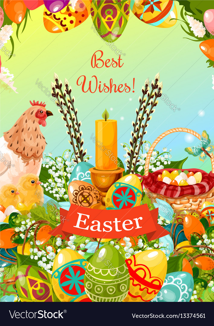 Easter spring holiday cartoon greeting card design vector image