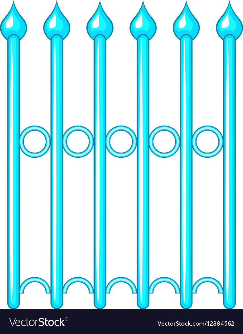Decorative iron fence icon cartoon style vector image