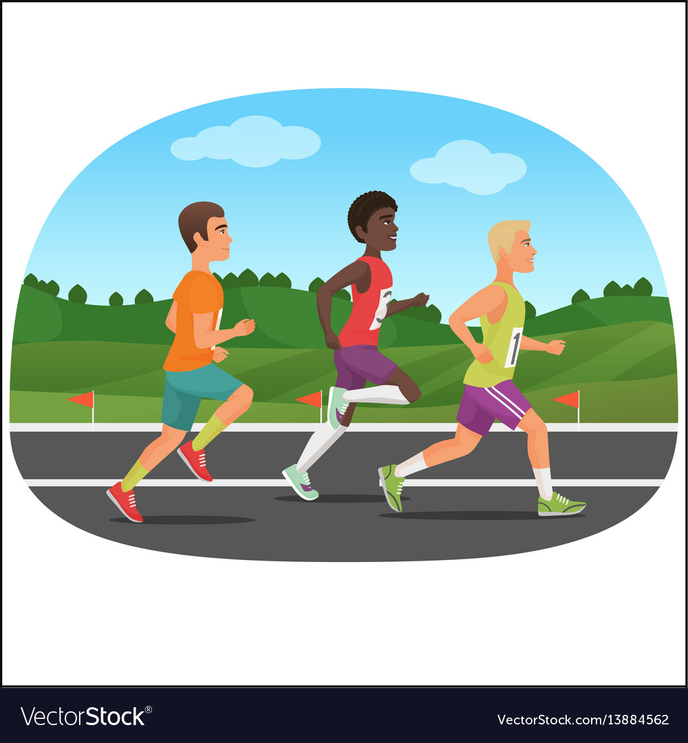 Three young sport man running outdoor jogging vector image