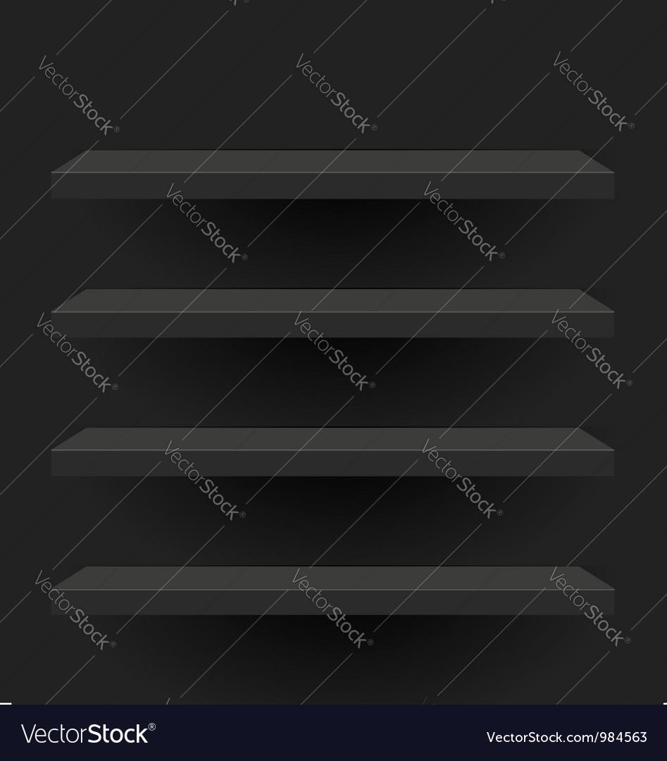 Black shelves design vector image