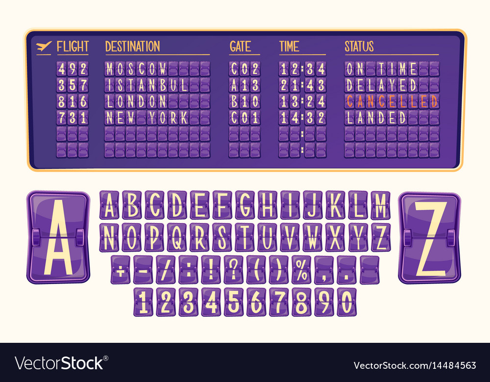 Board of arrival and departure vector image