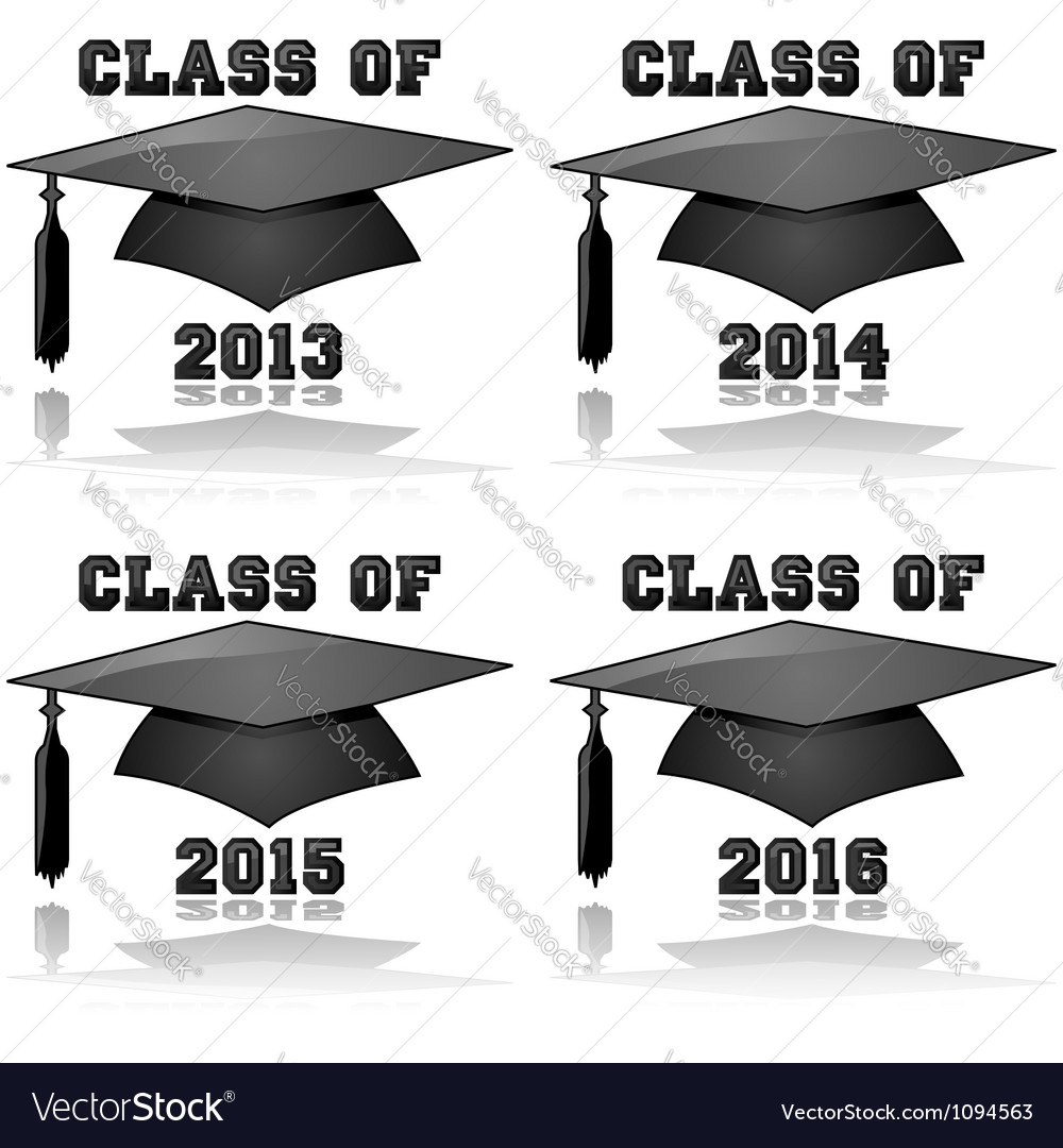 Graduation classes from 2013 to 2016 vector image