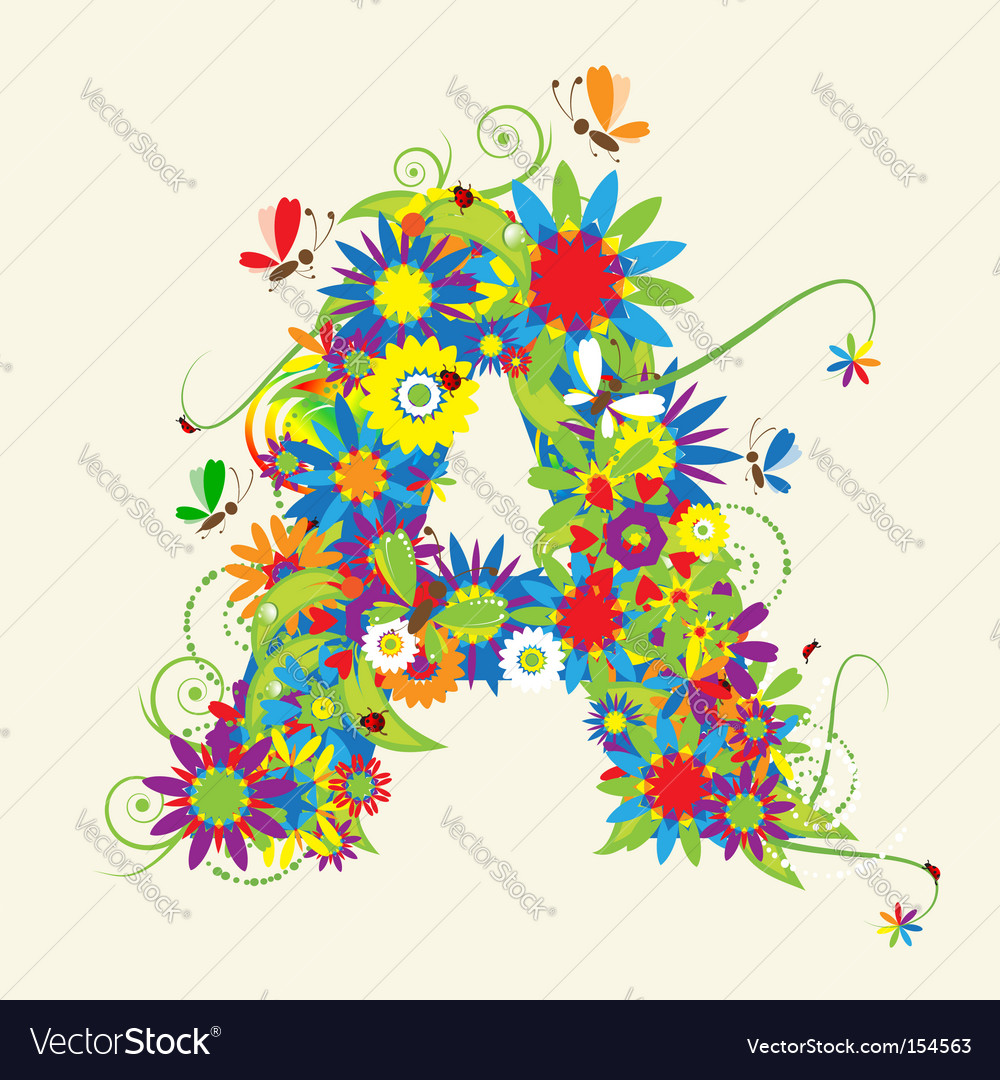 Green floral design vector graphic free vector graphics all free - Letter A Floral Design Vector Image
