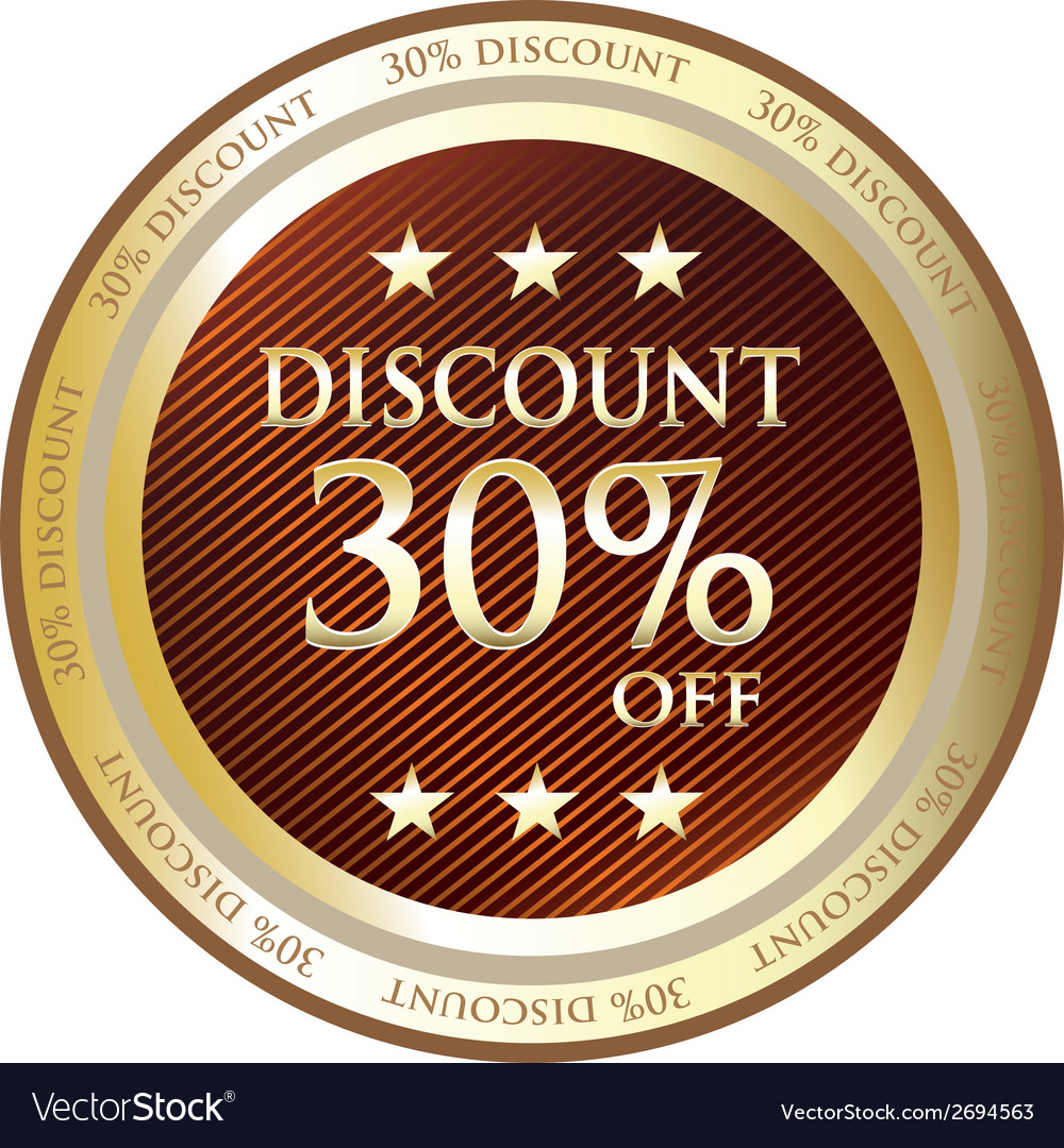 Thirty Percent Discount Gold Label vector image