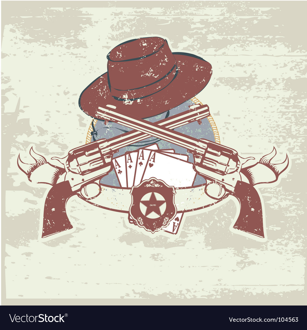 Two guns and hat vector image