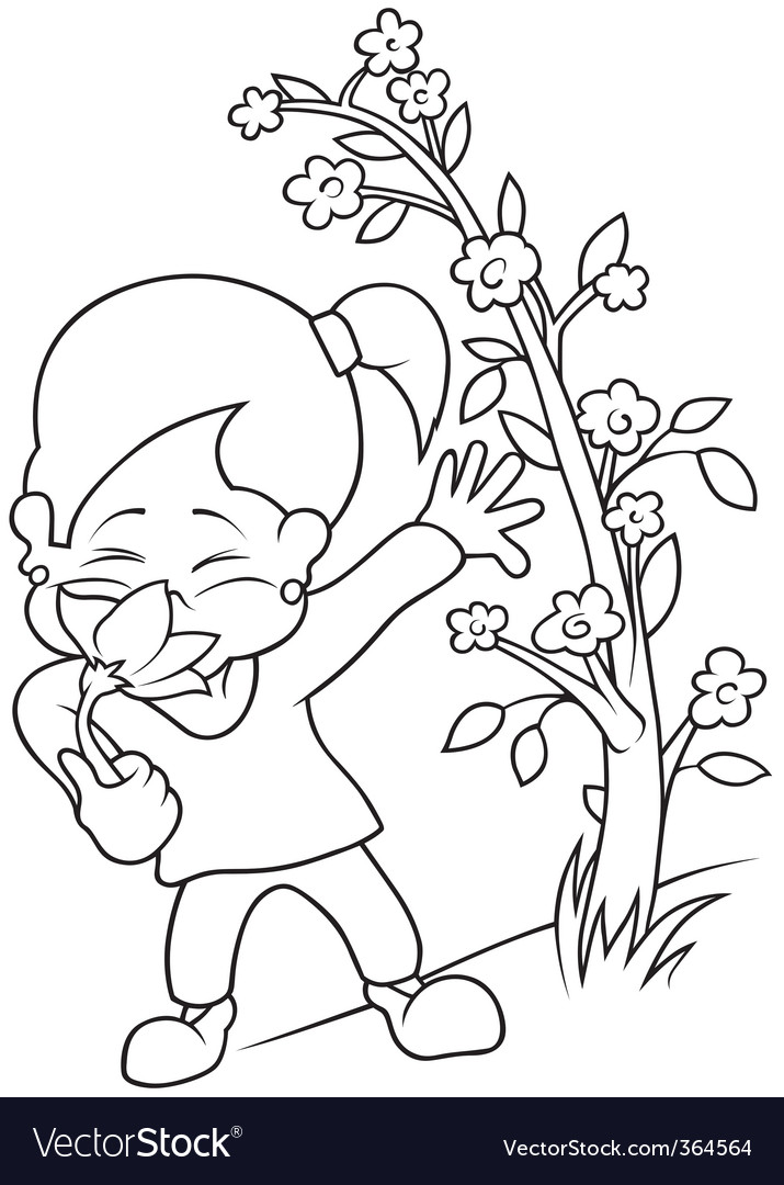 Girl with flower vector image