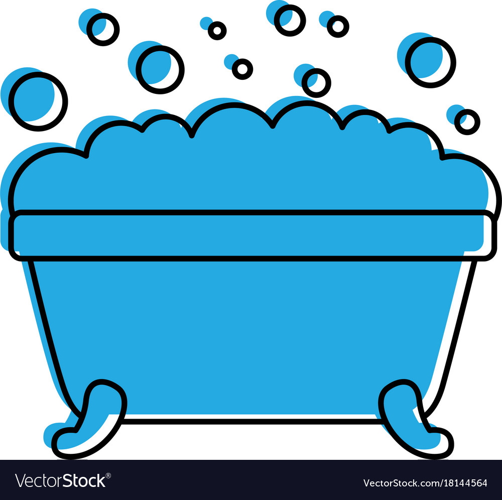 Bathtub foam bubbles clean hygiene interior Vector Image