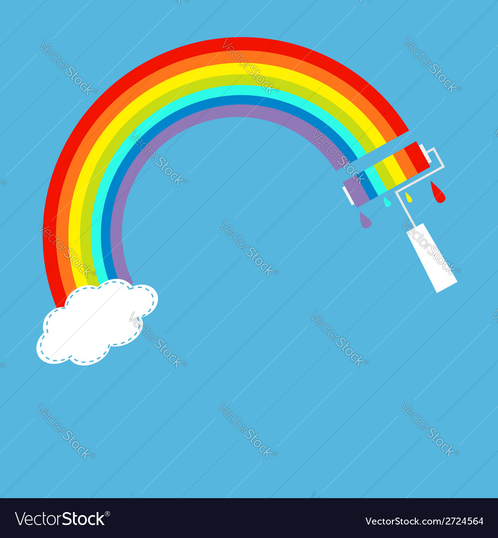 Rainbow one cloud in the sky and paint roller vector image