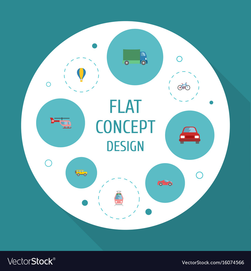 Flat icons automobile streetcar chopper and vector image