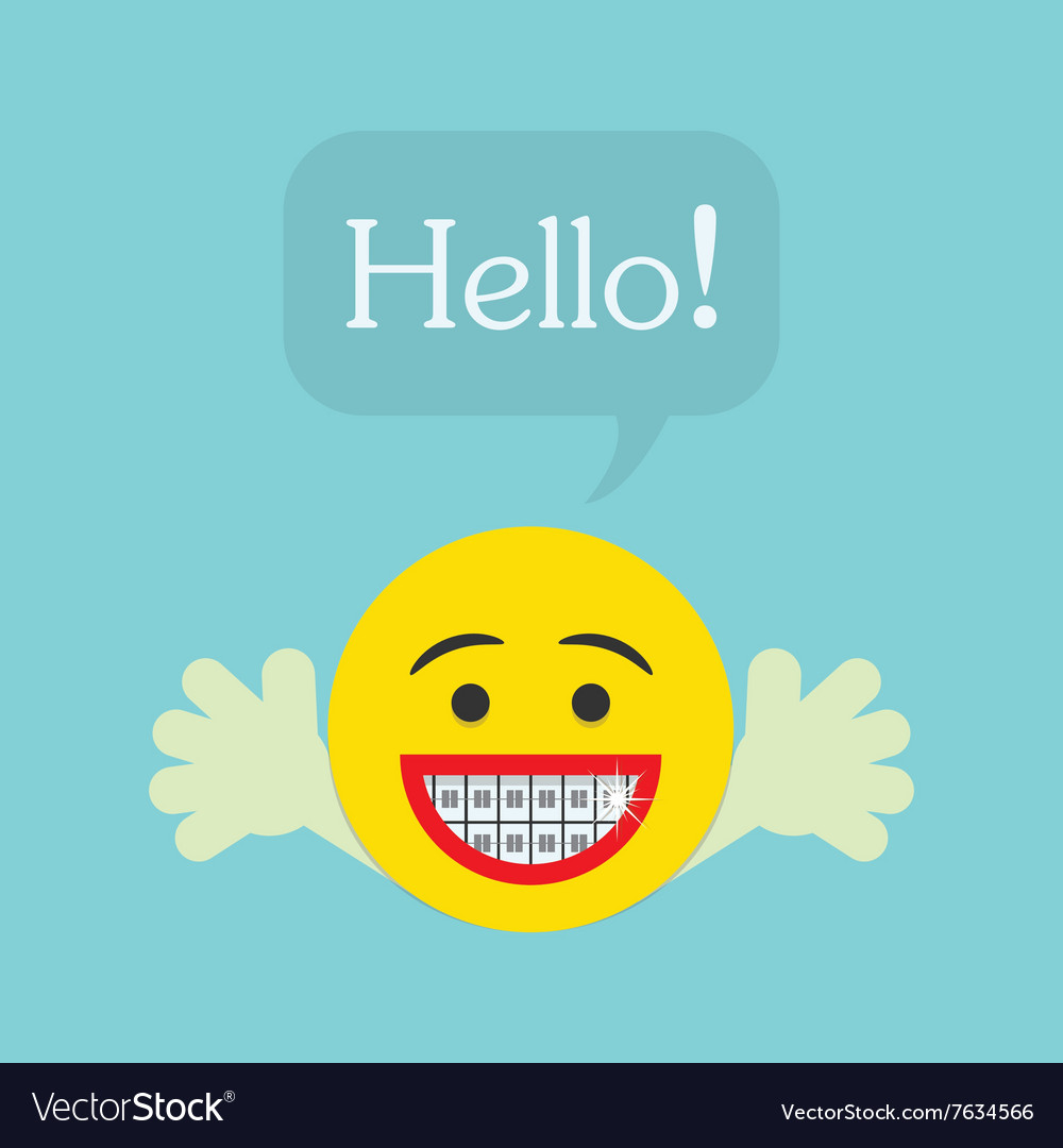 Smiley face emoticon icon with Hello speech bubble vector image