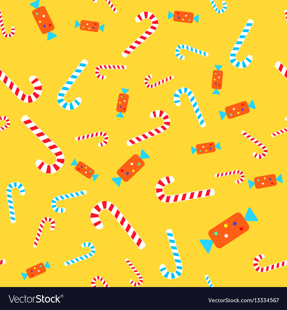 Candies seamless pattern lollipops and bonbons vector image
