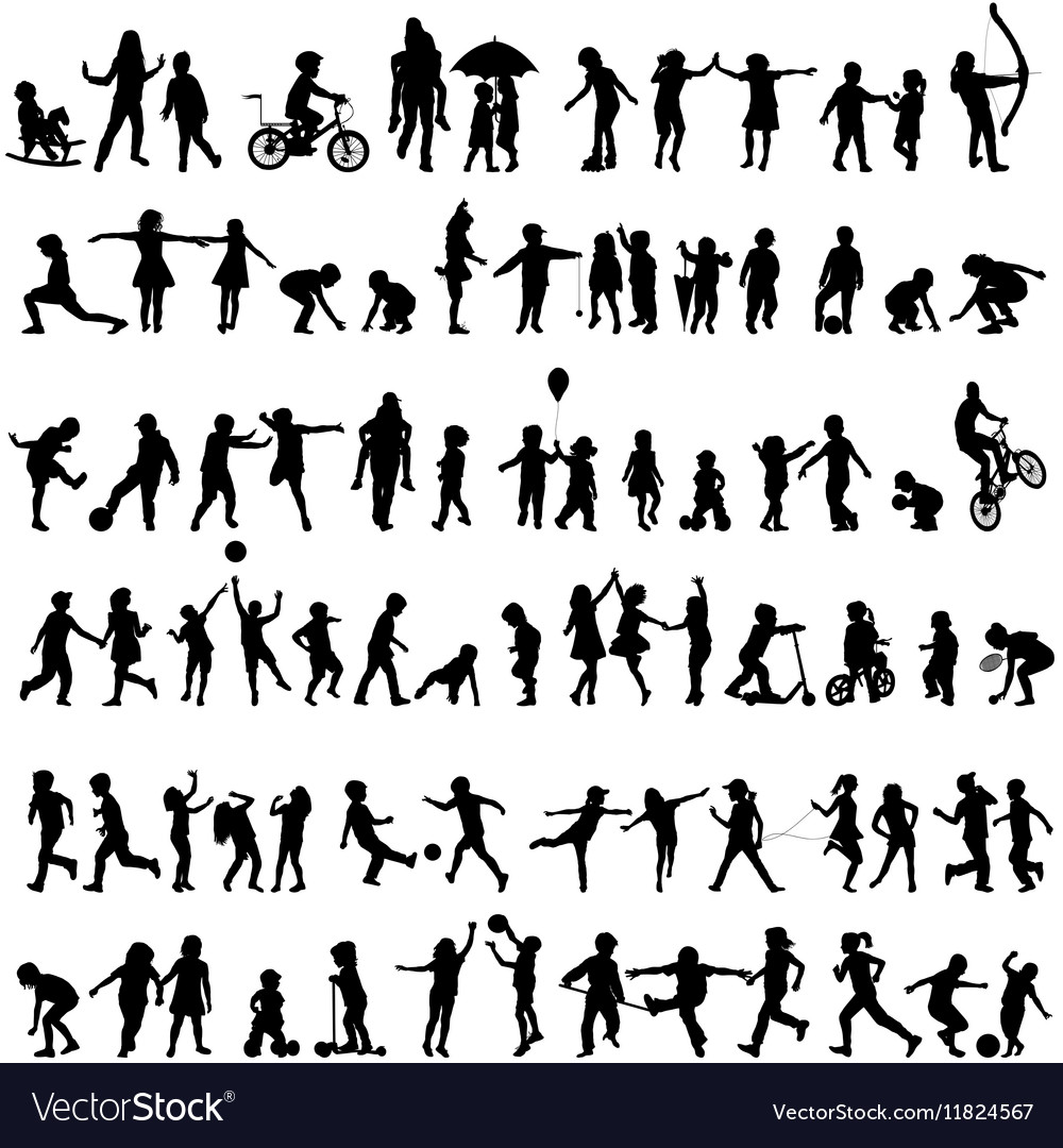 Set of children silhouettes vector image