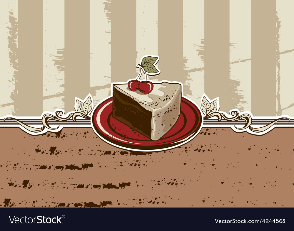 Cake piece vector image