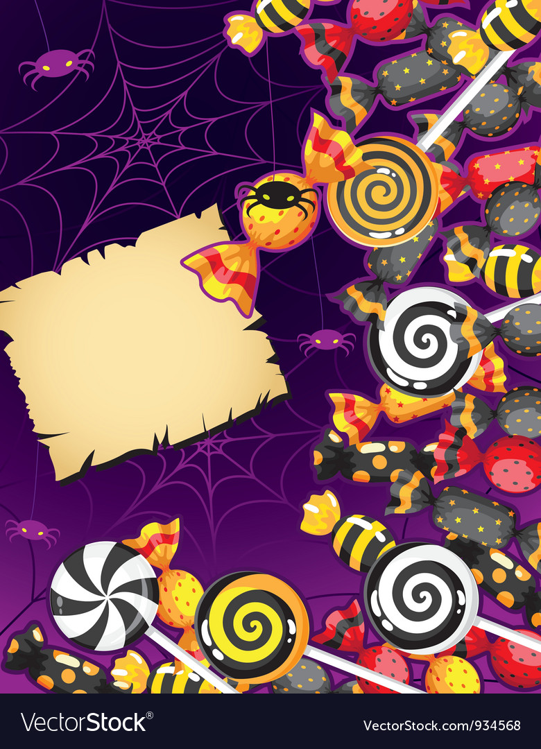 Halloween candy card vector image