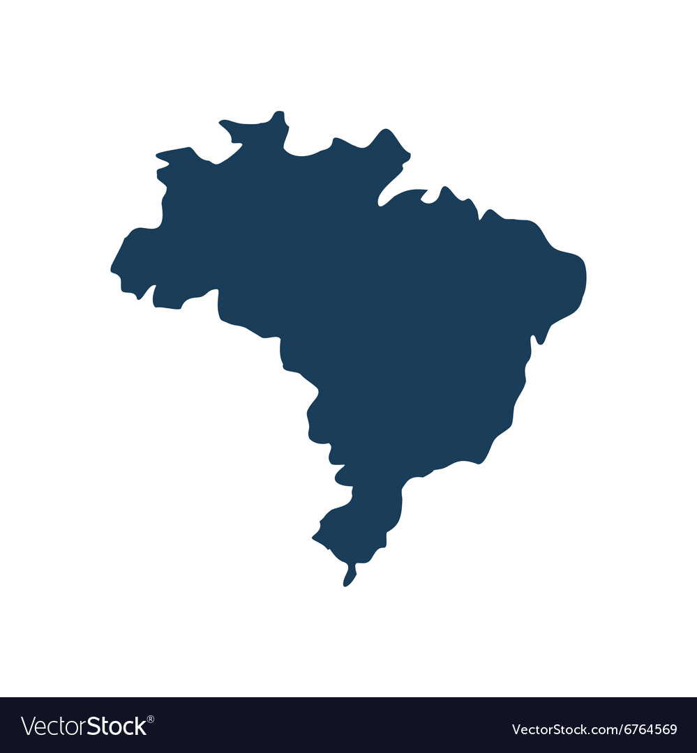 Flat icon on white background map of Brazil