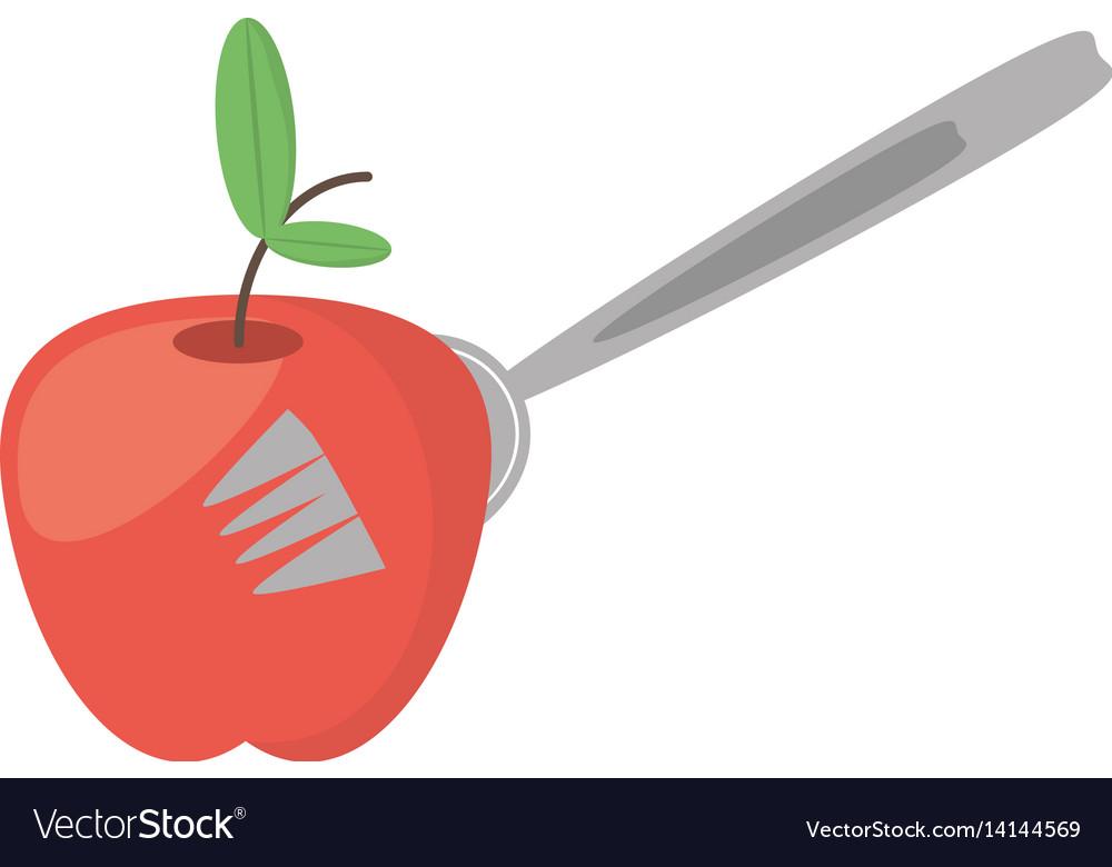 Apple fruit fork food picnic vector image