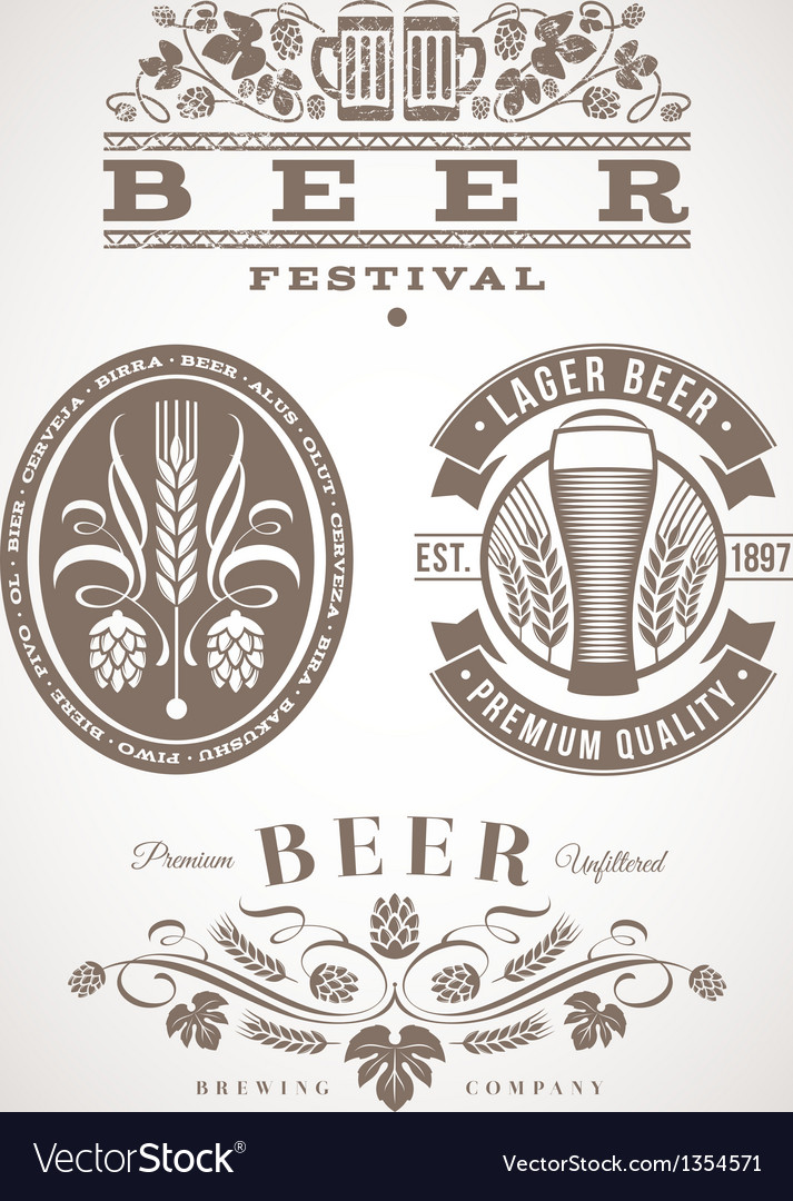 Beer emblems and labels - Vector Image