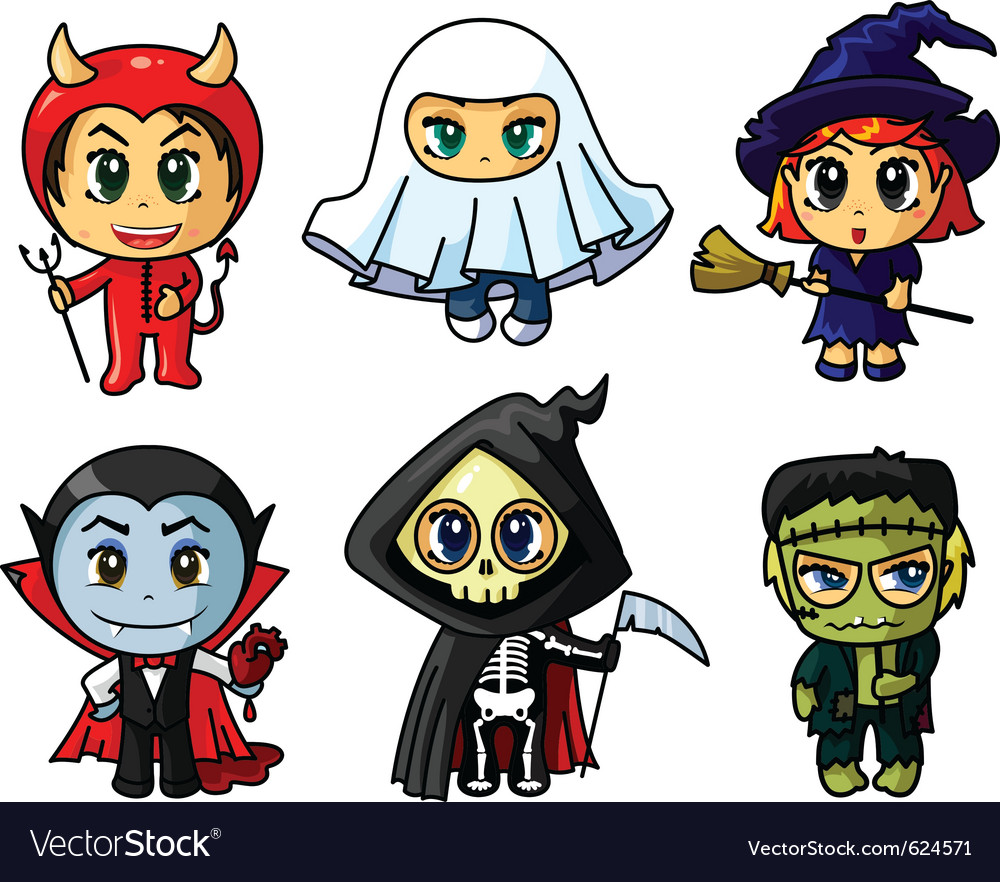 Halloween characters set Royalty Free Vector Image