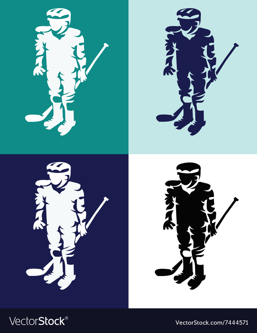 Hockey Players Mascots Silhouettes vector image