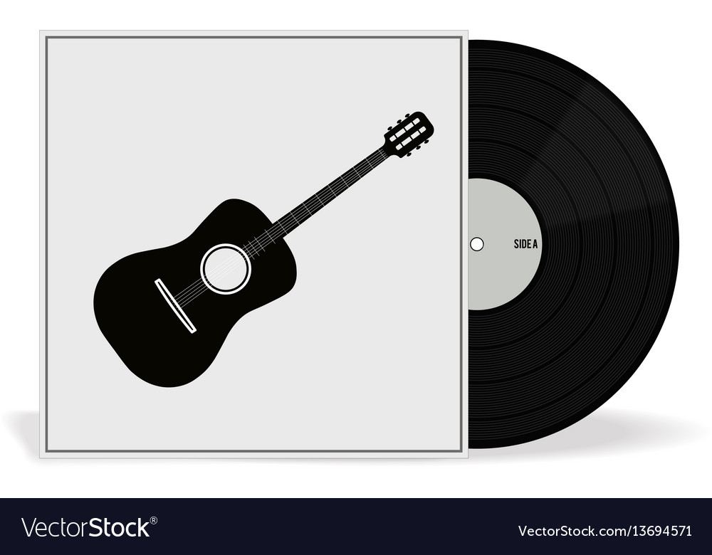 Realistic vinyl record with cover mockup retro vector image