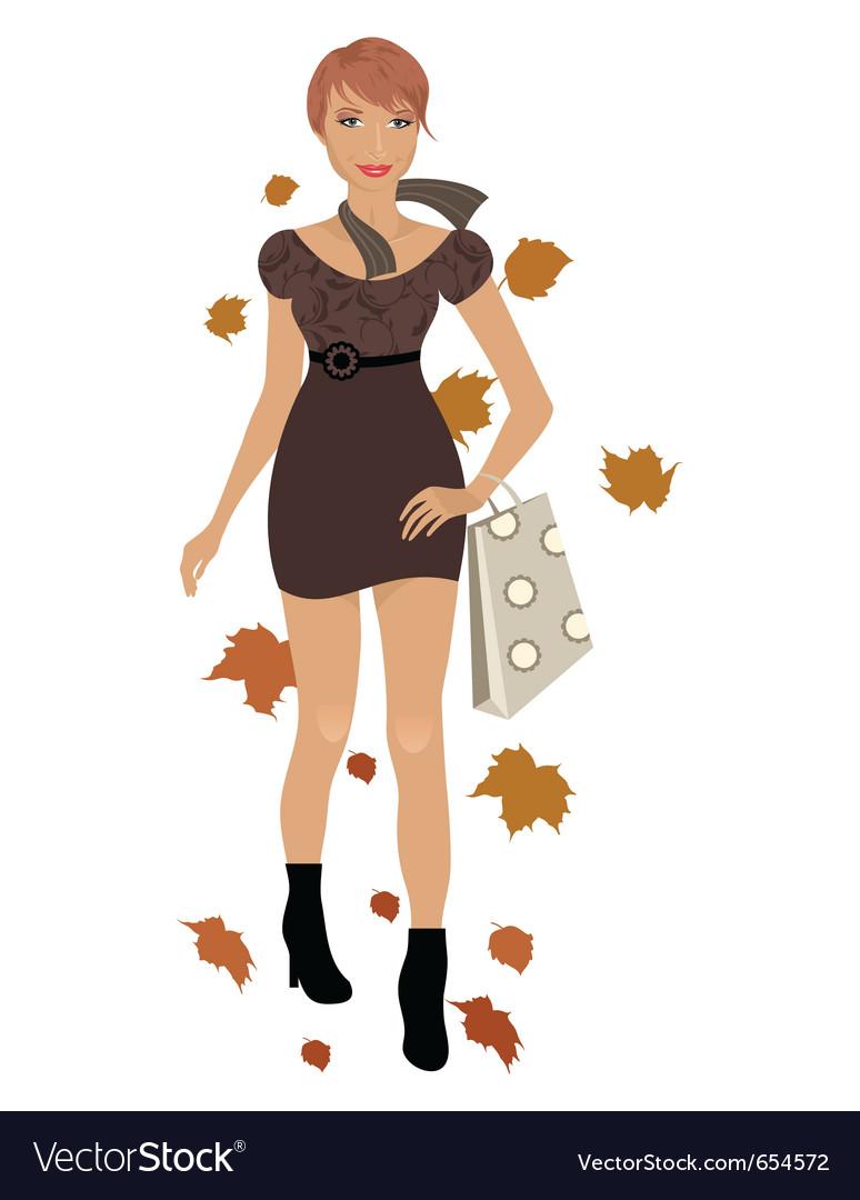 Elegant autumn girl isolated - vector image