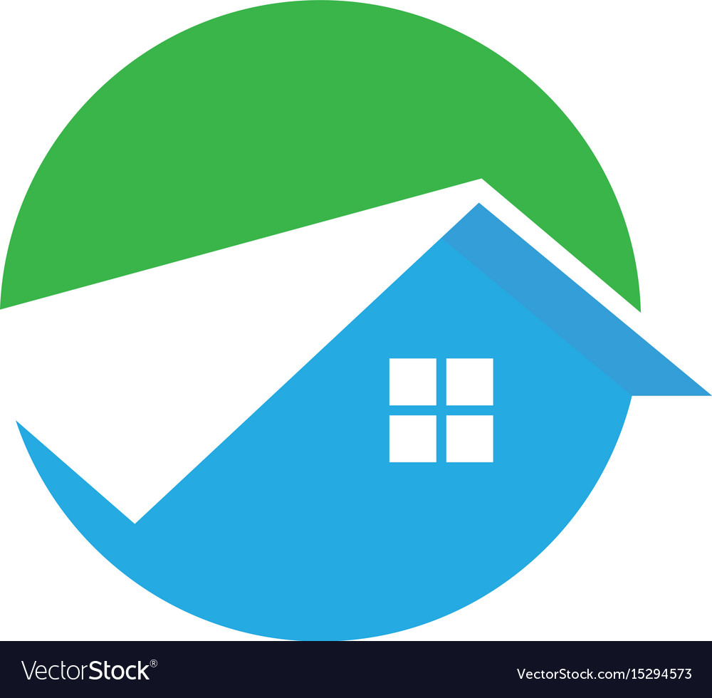 Circle home roof building logo image vector image