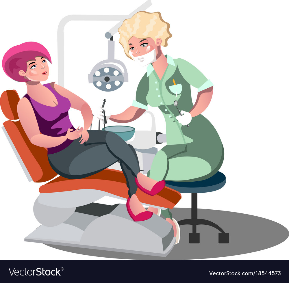 Dentist and woman in dentist chair vector image