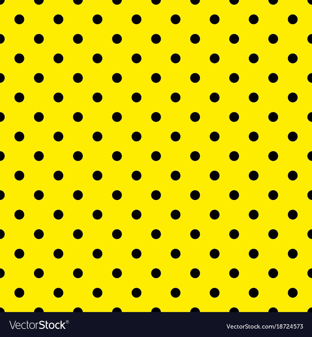 Tile pattern with black polka dots on yellow vector image
