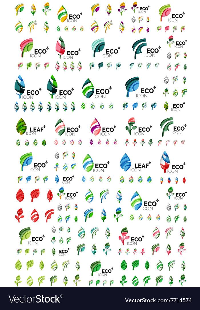 Set of geometric design eco leaves go green vector image