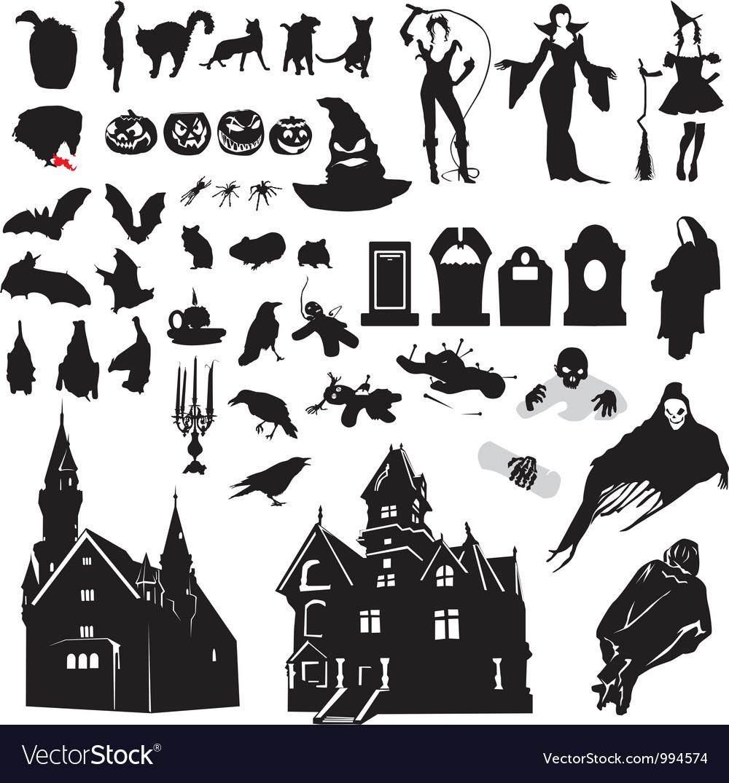Set of silhouettes symbolizing Halloween Vector Image
