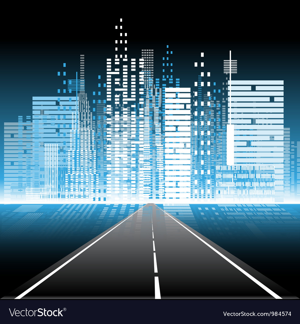The road to the city nightlife vector image