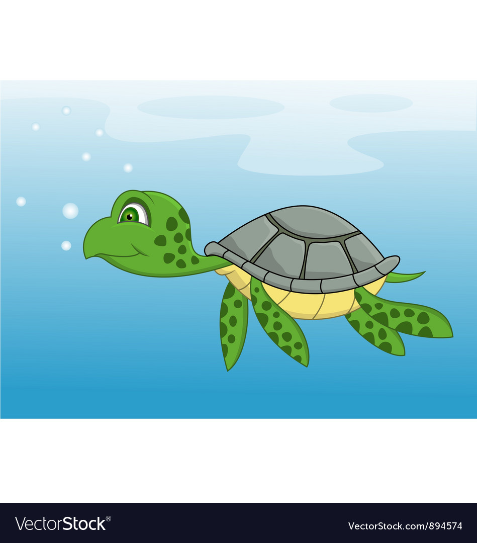 Turtle cartoon swimming vector image