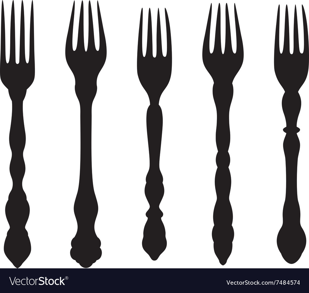 Vintage forks silhouettes set vector image