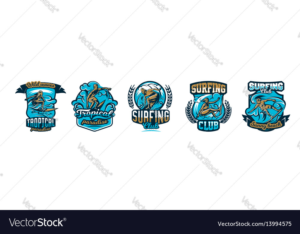 A collection of logos surfing emblems people are vector image