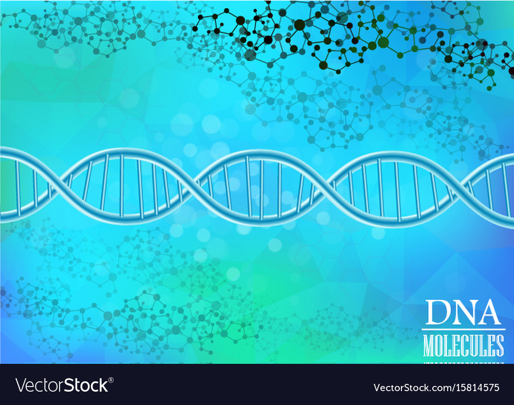 Dna model on blue background vector image