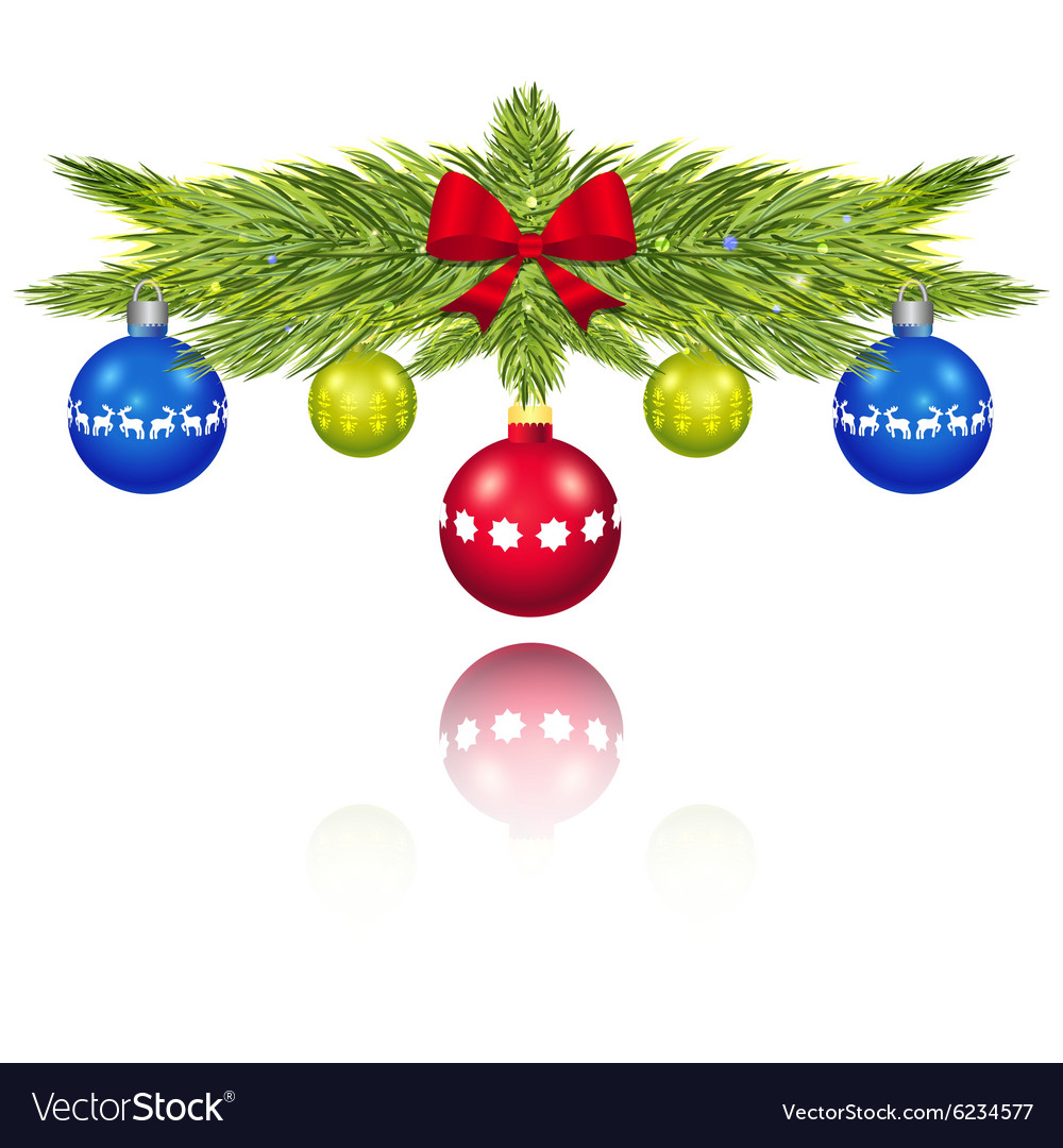 Pine branches with Christmas balls vector image