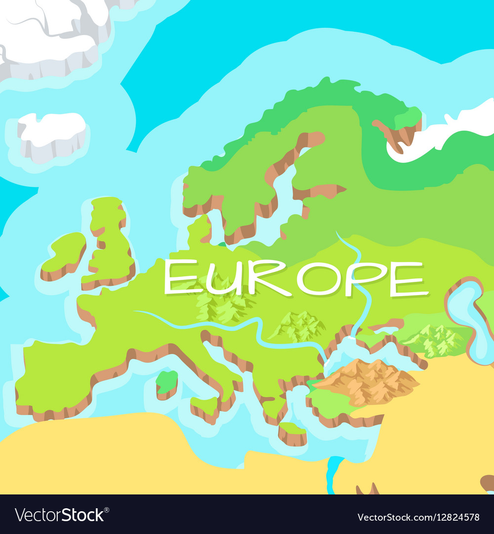 Europe mainland cartoon relief map royalty free vector image europe mainland cartoon relief map vector image gumiabroncs Images