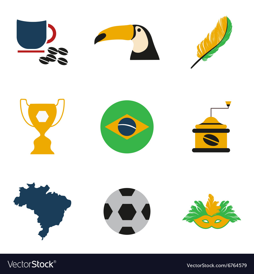 Set of flat icons on white background Brazil