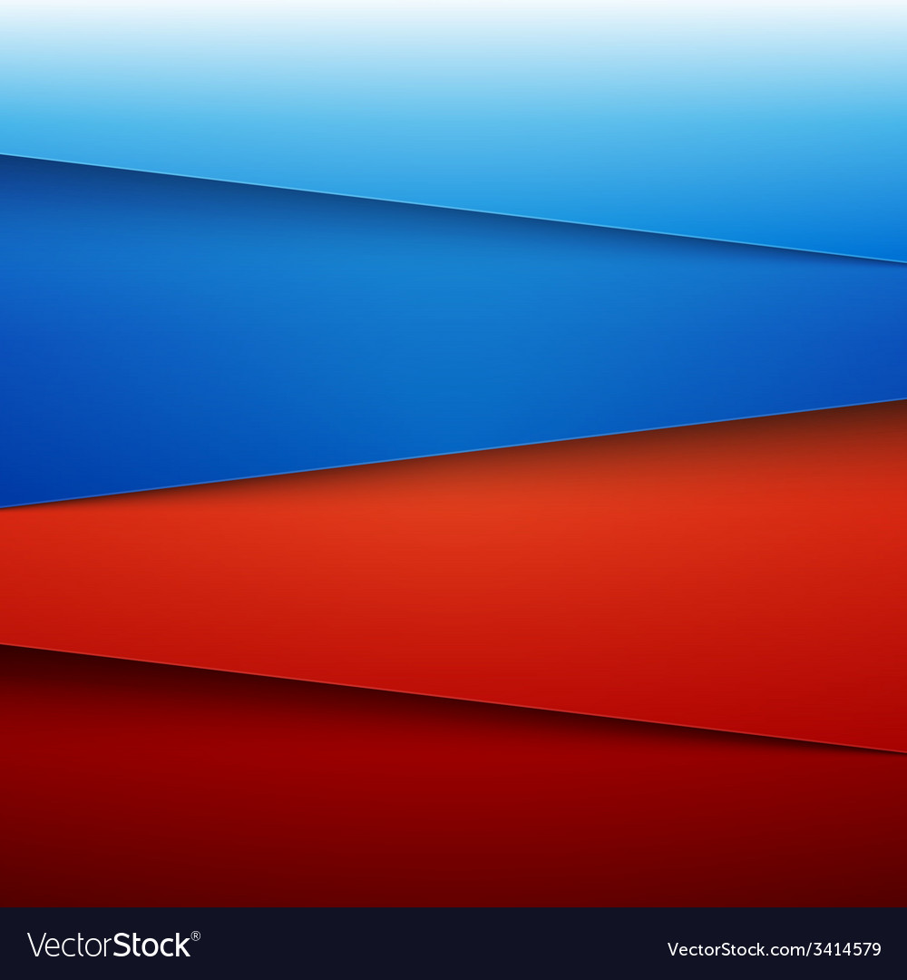 Blue and red paper layers abstract background vector image