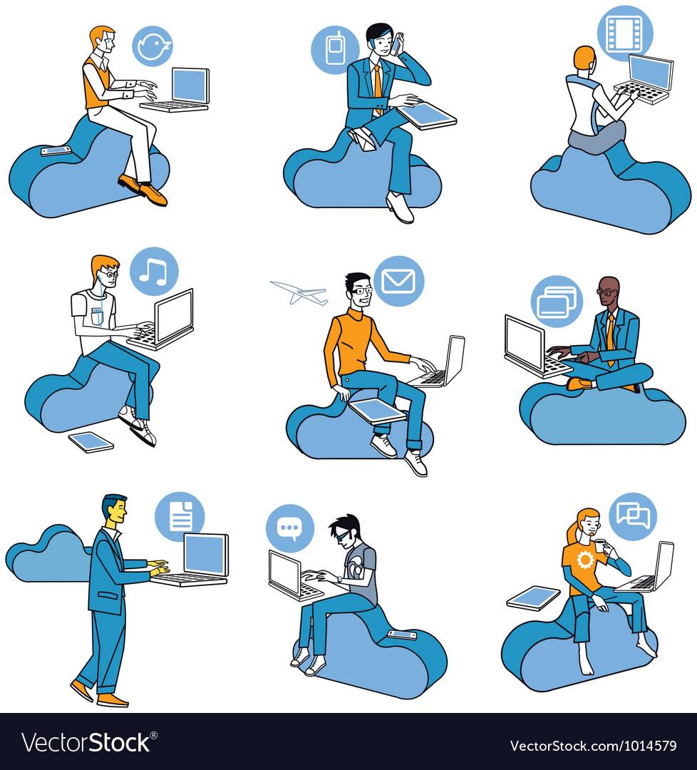 Cloud Computing Blue Men Set vector image
