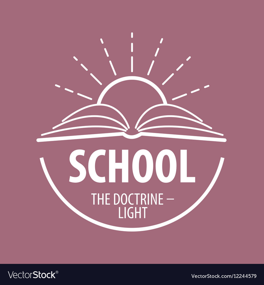 Logo book and sun with rays vector image