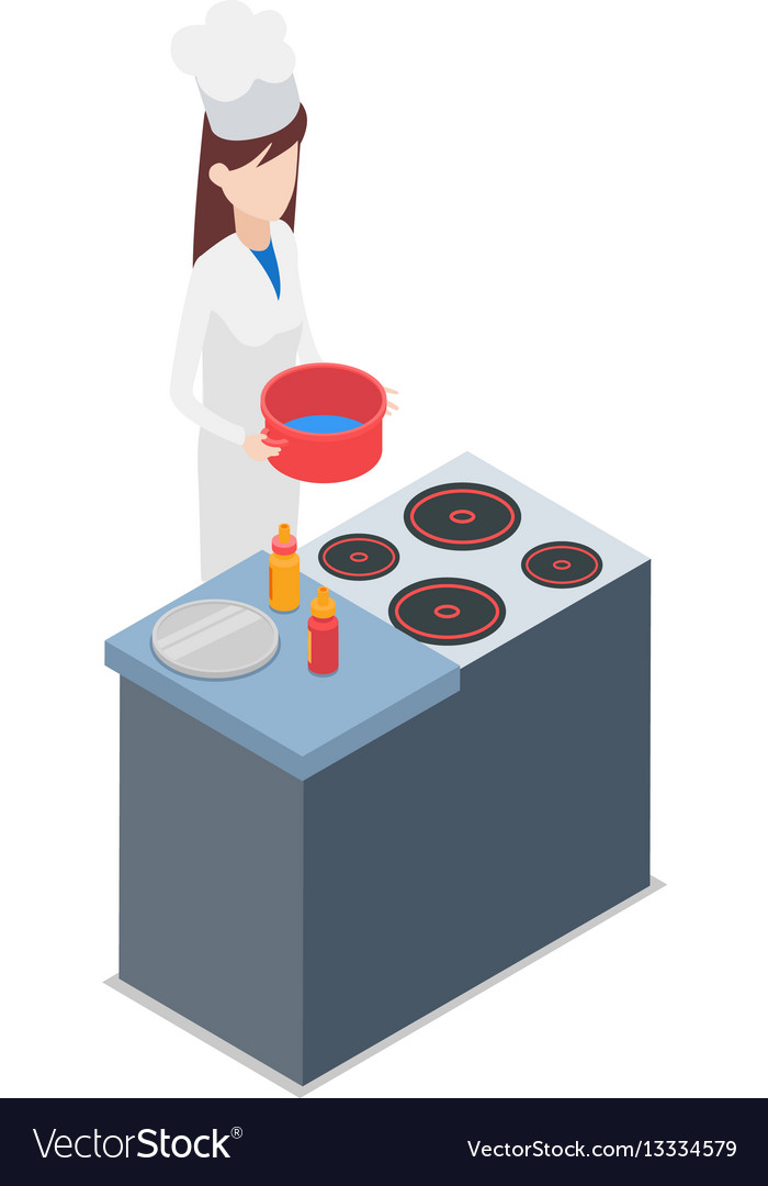 Restaurant female cook holding pot with water vector image