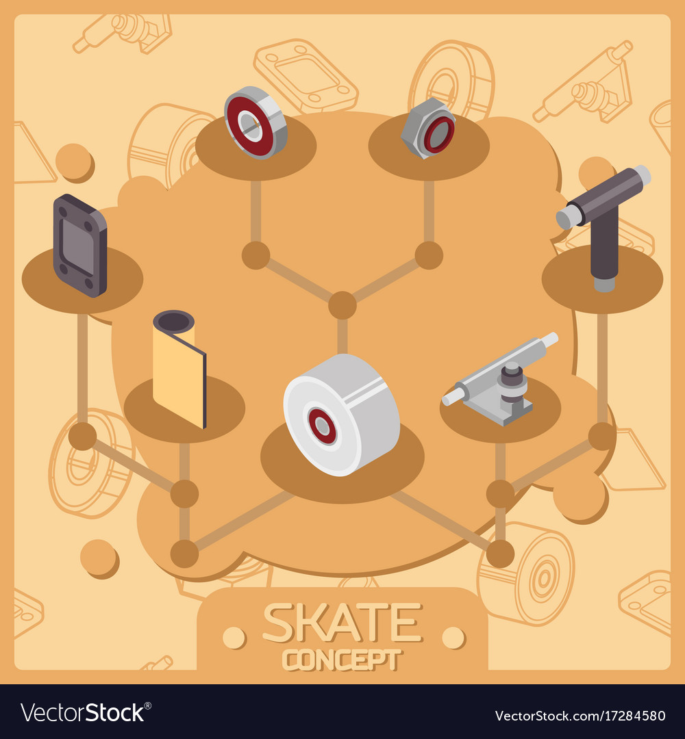 Skate color isometric concept icons vector image