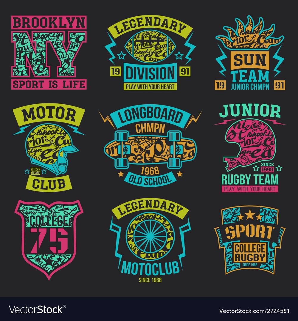Design t shirt vector - Sport Emblems Graphic Design For T Shirt Vector Image