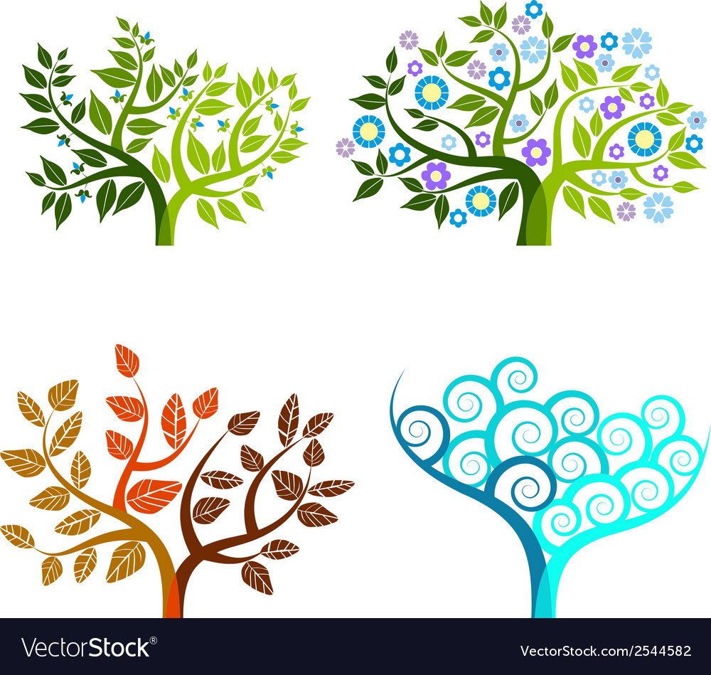 Abstract tree - graphic element - four seasons vector image