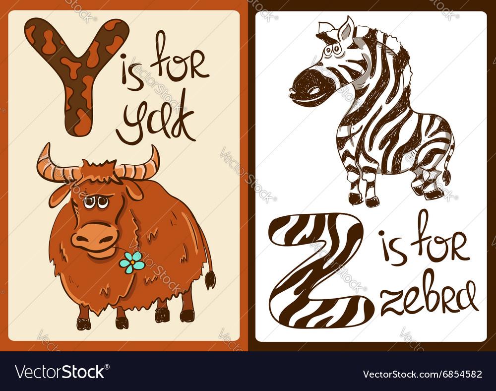 Children Alphabet with Funny Animals Yak and Zebra vector image
