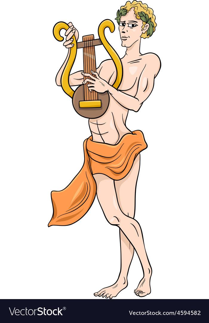 Greek god apollo cartoon vector image