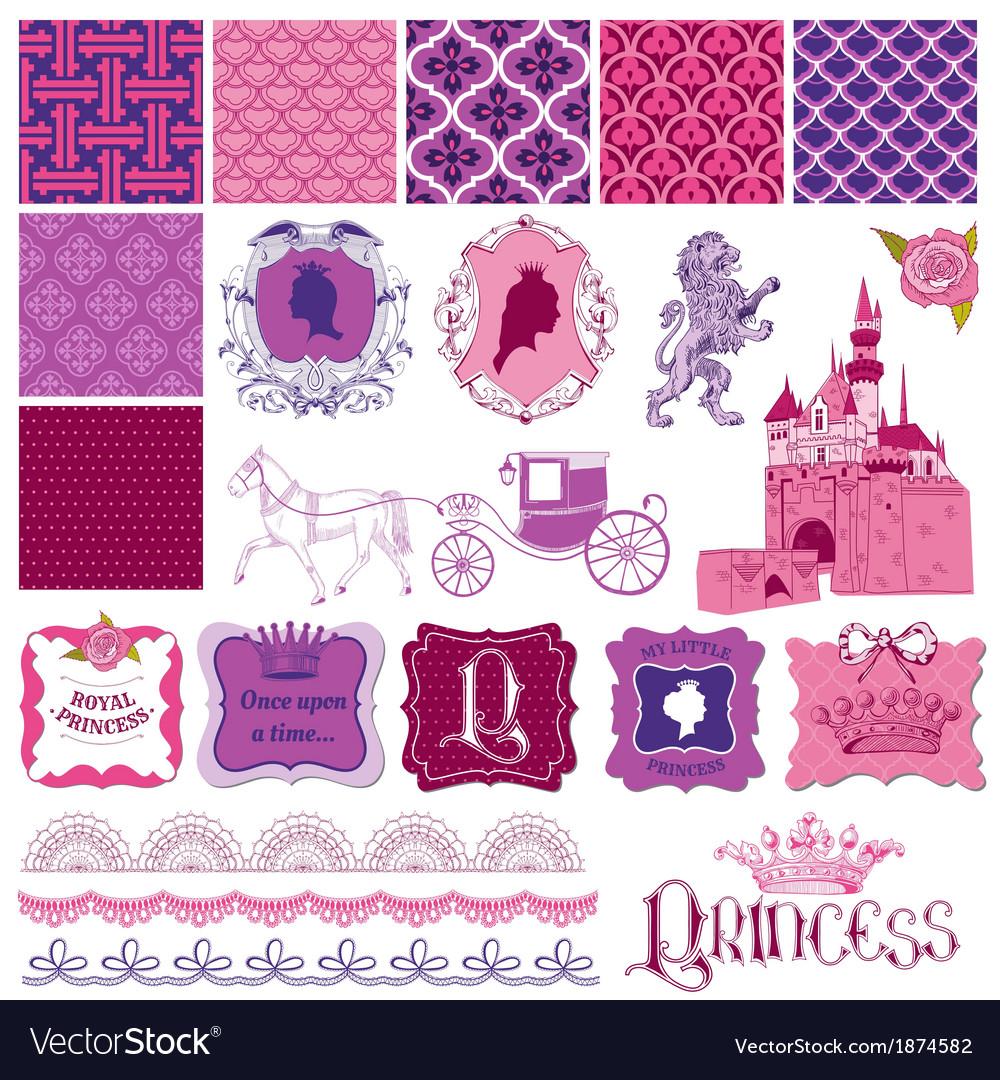 Scrapbook Design Elements - Princess Girl Birthday vector image