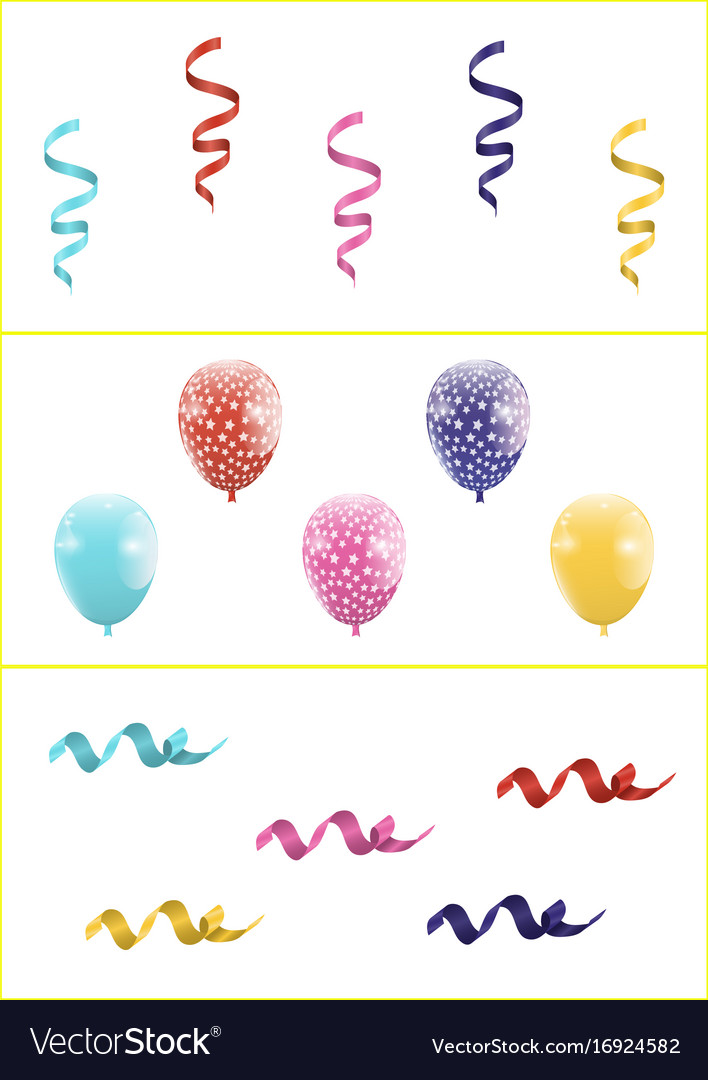 Set of colorful balloons and ribbons vector image